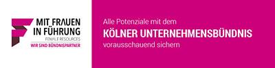 Logo Mit Frauen in der Führung vom Kölner Unternehmensbündnis. Link zur Seite Arbeiten im Jobcenter Köln